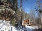 Snow At Big Rock Log Cabin