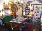 Inside a Art and Antiques shop in the village
