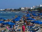 Amazing Fig Tree Bay in Protaras with its tourist shops, restaurants and of course, watersports.