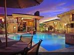 Community pool view @ night