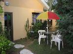 Entrance and garden patio