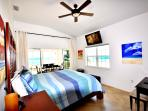 Master Bedroom w Kingsize Bed, Ocean views Up & Down 7 Mile Beach, Large Plasma TV
