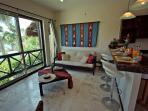 Bora: The living room facing the beach