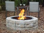 Fire pit on side of house