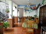 The spacious patio Breakfast area off the kitchen.  We are known for our delicious , sumptuos breakfasts