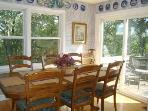 Dining Room open to Living Rm & Kitchen; Doors open to Front Deck Eating Areas & Views!