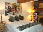 Plush Queen Bed off Family Room Area; sumptuous bedding; TV/DVD/VCR; fireplace