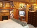 Plush Queen Bed, FP, TV/DVD/VCR, Cedar Walls & Wood Beam Ceilings; privacy curtains from Family Room