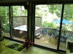Sunroom Glass Doors Lead to 6 Person Hot Tub, Patio Dining, Gas Grill - all Borders a 33 Acre Forest