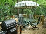 Delightful woodlands setting to enjoy your meals outdoors; prepare your meals on the gas grill.