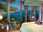Queen Guest Bedroom w/fun mural & kids toys; Plush Queen Bed & Sumptuous Bedding; TV/VCR