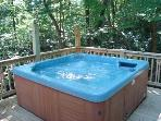 Just Outside the Dining Area is the Powerful 6 Person Hot Tub - relax under the canopy of trees!