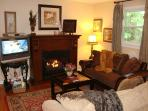 Romantic Living Room w/Gas Log Fireplace, HDTV/DVR, Comfortable Sofas, Open to Kitchen & Dining Area
