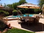 Backyard pool area table w/umbrella