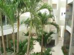 Lush tropical gardens in the courtyard area
