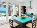 Villa Coquina...Dawn Beach, Dutch St Maarten...eat in Italian kitchen with views of pool and beach.