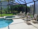 Pool spa and loungers