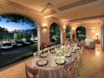 Dining at twilight - Caprice Beach Villa in Barbados
