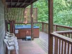 Lower level deck, with hot tub