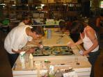 Stained Glass students at work