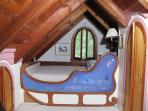 Queen size Sleigh of Dreams bed in 150 sq. ft. master loft