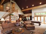Open Great Room with Pool Table, Fireplace