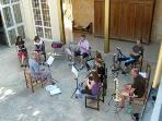 Orchestra rehearsal in the courtyard