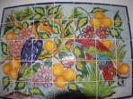 hand painted Mexican tile art
