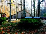The Saltbox Lodge, lg.post & beam woodland cabin