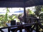 Beautiful views over the lake and valleys from the Balinese gazebo.