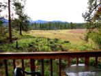 Deck looks out on pristine meadow