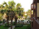 Pool view from balcony walkway