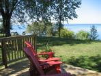 A view of Lake Ontario from the deck at the Vineyard cottage at Nokara Farms in St. Catharines