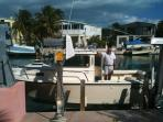 Boat lift with a past vacationer and his boat aboard