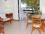 dining room with view onto balcony - table seats 5 comfortably