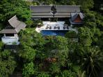 Front Aerial Villa View. The largest property on the hill.