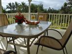 Listen to the ocean waves while relaxing on the lanai off the kitchen/dining room.