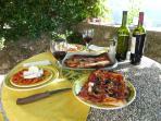 dining alfresco under the pergola on the terrace