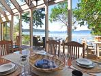 The view is magnificent, whether dining indoors or out!