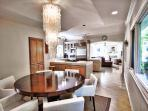 Open floor plan makes this home perfect for family gathering and entertaining. Dining area seats 6 people.