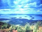 Bar Harbor and Porcupine Isles seen from Cadillac Mountain in Acadia National Park