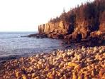 Boulder Beach and Otter Point in Acadia National Park, near Acadia View: 'Turn Left' to enter Park