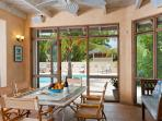 The pool porch is for casual dining