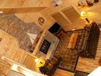 Cedar Creek-Great Room- Soaring Gas fireplace, TV, BluRay