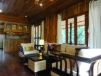 Living area with contempory thai furniture. Flat screen TV +Cable TV
