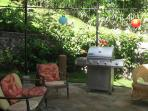 Patio with barbecue open to the dining/livign area, sorounded by a beautifly manicured garden/lawn
