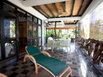 Large first floor verandah adjoining master bedroom with spectacular views of Praslin and sunsets