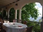 Dining on the veranda.