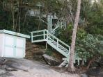 Stairs from house to beach and beach shed