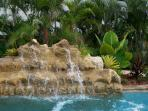 Breathtaking and relaxing waterfalls in our heated pool